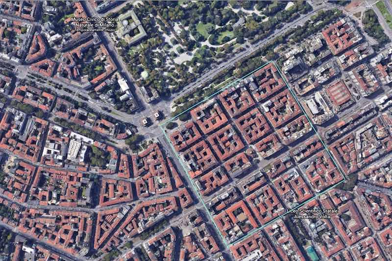 L'area del Lazzaretto di Milano vista oggi con Google Earth