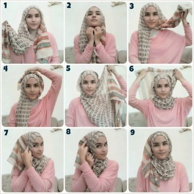 Cara Memakai Hijab Segi Empat Simple Modern Terbaru