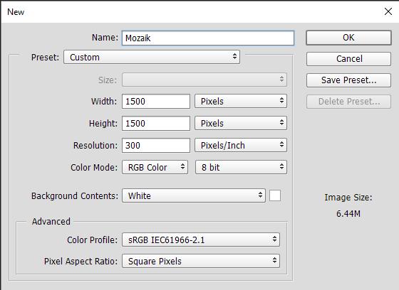 membuat dokumen baru untuk foto mozaik