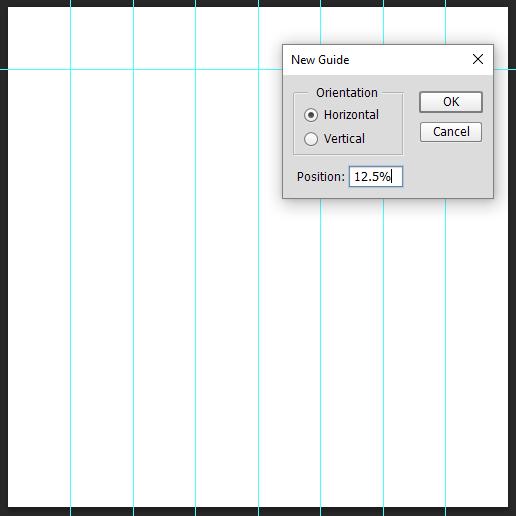 Membuat guide horizontal untuk foto mozaik