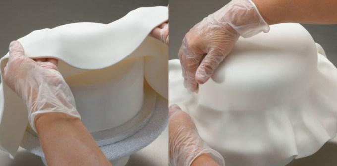 Menutup kue menggunakan fondant