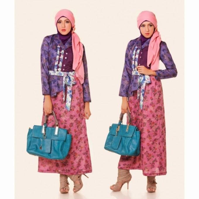 Model Baju Batik Kombinasi Warna Pink dan Ungu
