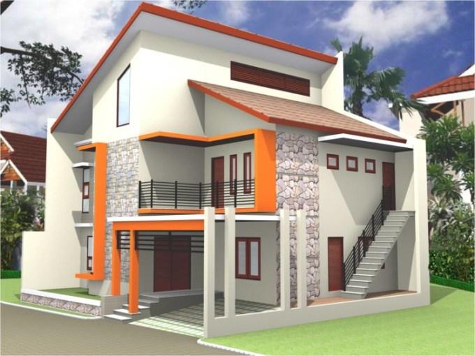 Warna Cat Orange Rumah Minimalis Tampak Depan