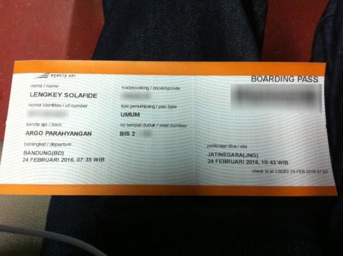 Boarding Pass Kereta Api