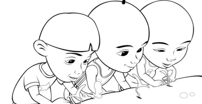 Gambar Sketsa Kartun Lucu Yang Mudah Untuk Diwarnai