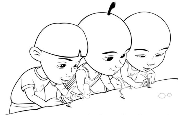 Gambar sketsa Upin Ipin
