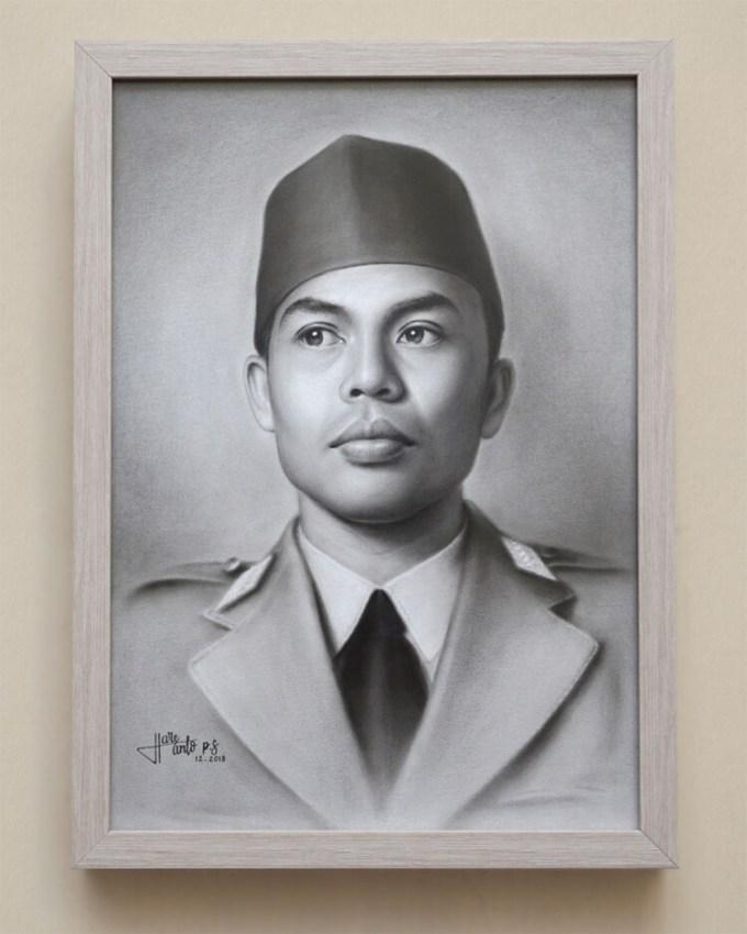 Sketsa wajah pahlawan nasional Jendral Sudirman