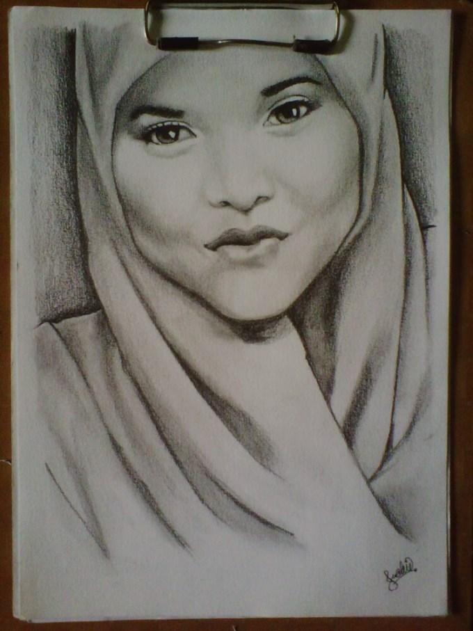 Sketsa wajah wanita berhijab