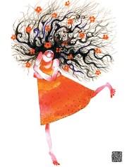 curly hair girl hug red dress