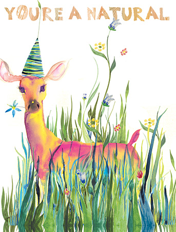 Grass Deer Natural Watercolor Birthday Greeting Card By