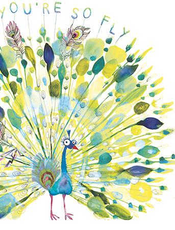 Fly Peacock Watercolor Greeting Card By Masha DyansMasha