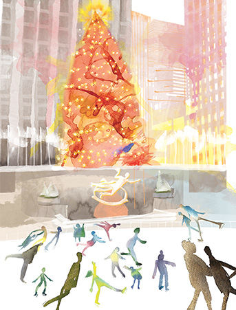 Rock Center New York Skaters Winter Christmas Tree