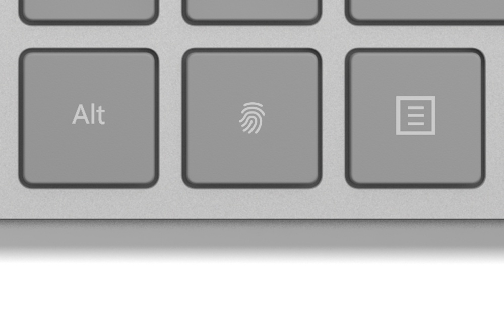 resize 【新聞稿附圖】微軟具有指紋識別功能的時尚鍵盤延續Windows Hello功能中「你就是密碼」的核心理念,從此不再需要繁複的密碼驗證使用者身分 微軟新配件 Surface Precision Mouse、指紋辨識鍵盤確定登台