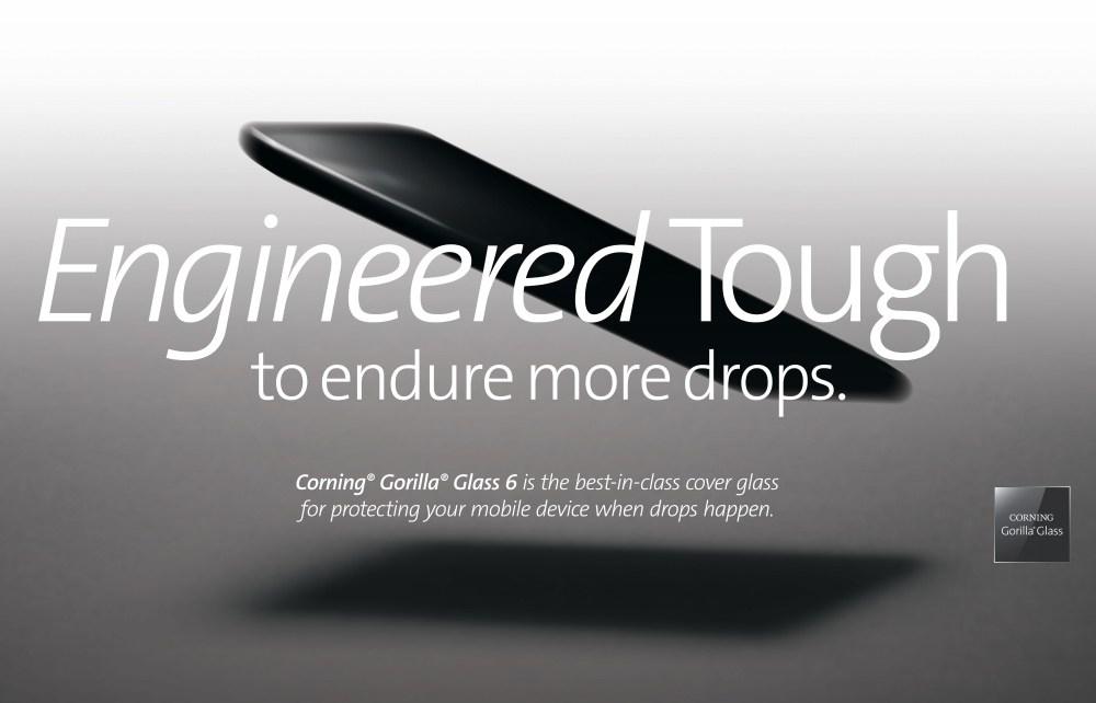resize 康寧Gorilla Glass 6採用全新玻璃成分,具備更佳的抗損傷能力。台灣康寧提供 康寧揭曉第六代強化玻璃Gorilla Glass 6 垂直1公尺落下15次內不損傷