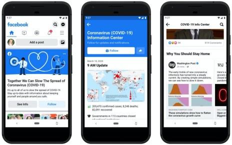 Coronavirus Info Center Facebook將啟用新型冠狀病毒資訊中心,透過社群方式減少疫情恐懼