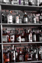 An impressive array of fine spirits behind the bar.