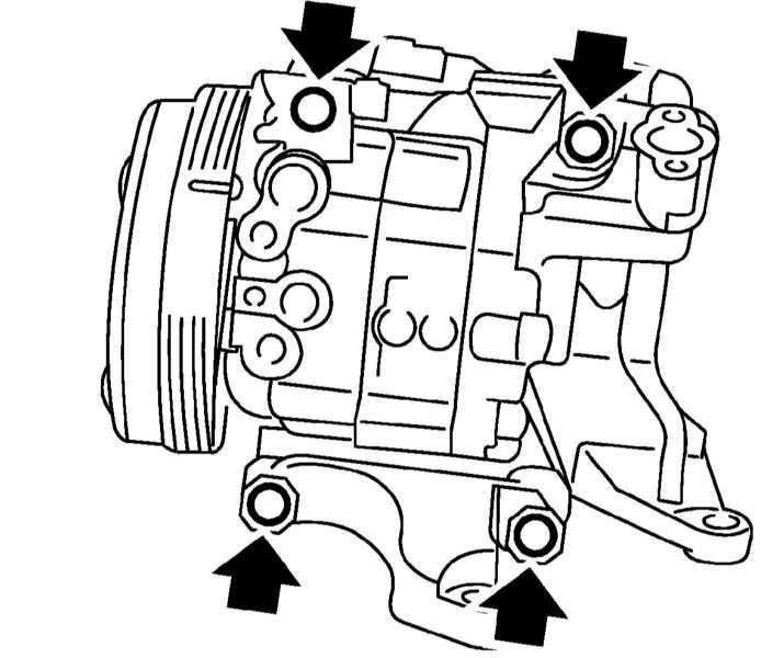 Проверка состояния, снятие и установка компрессора системы