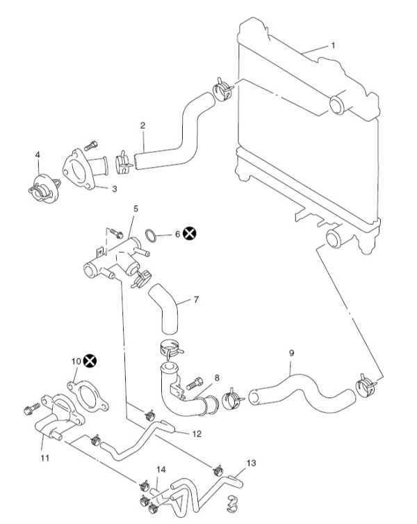 Компоненты системы охлаждения Suzuki Grand Vitara 1998-2005