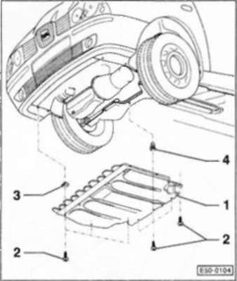 Снятие нижнего кожуха моторного отсека Volkswagen Polo