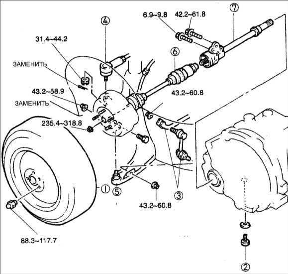 Правый приводной и промежуточный валы Kia Clarus 1995-2001