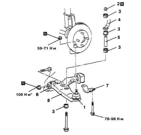 Снятие и установка нижних рычагов передней подвески