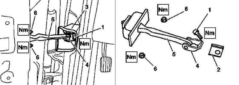 Снятие и установка ограничителей открывания боковых дверей