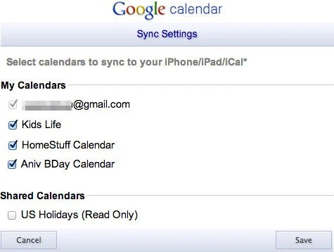 google calendar sync setting
