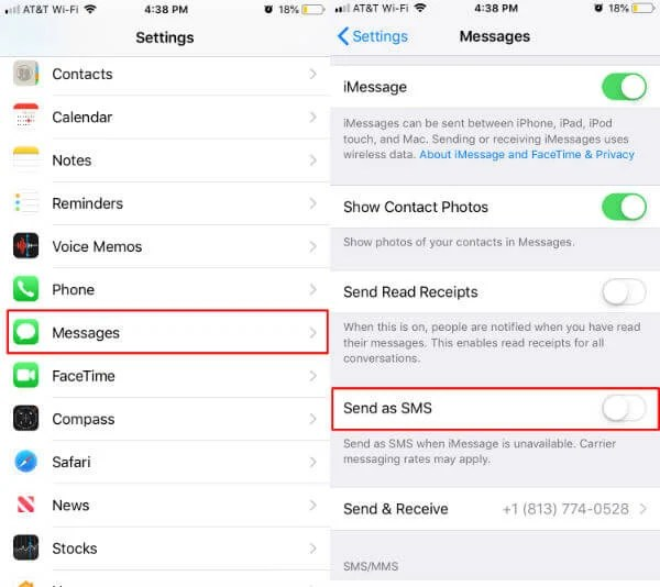 Block SMS on iPhone
