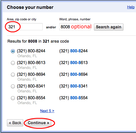 Google Voice Number Search