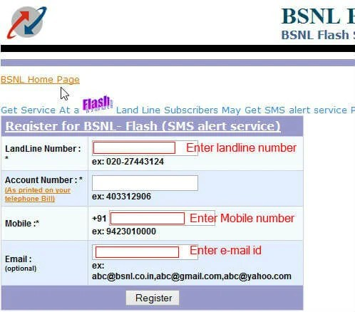 bsnl landline bills by sms 1