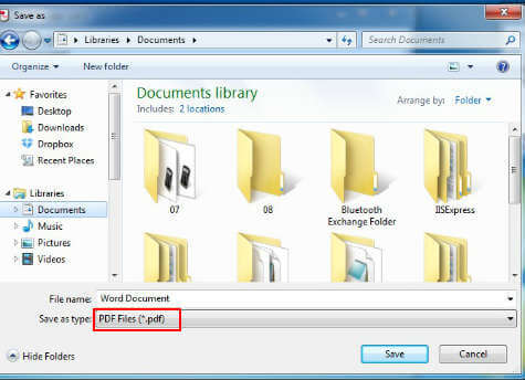 set save as pdf