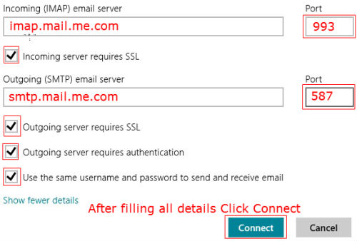 iCloud email to Windows 8 mail form finish
