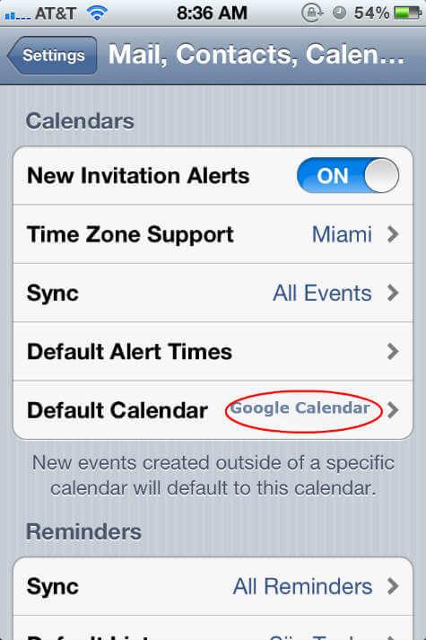 default Google Calendar