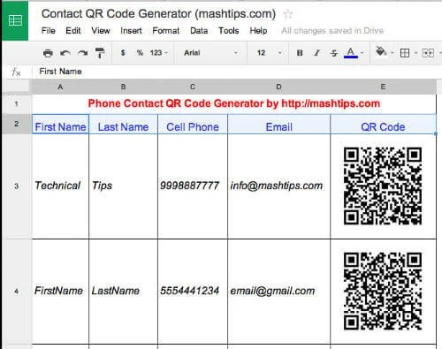 QR Code Generator For Contact List - Scan and Add in Your Smart Phone