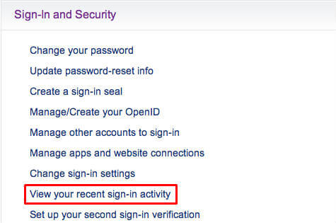 How to find the login activities of your Yahoo Email account?