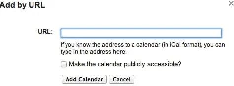 Add Google Calendar URL