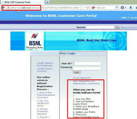 BSNL Selfcare Register