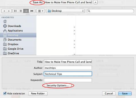 MAC PDF Save Window