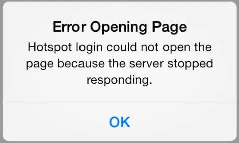 iOS Hotspot Error popup