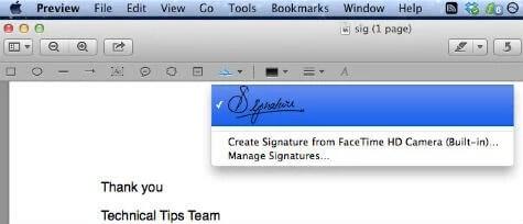 mac signature select