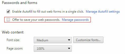 Chrome Disable Autosaving Password