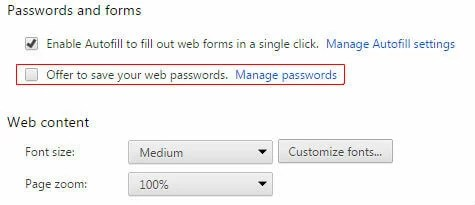 Chrome Disable Autosaving Password
