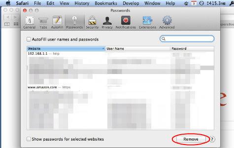 Safari Remove Saved Passwords