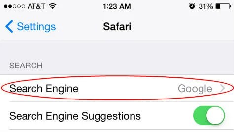 ios safari search engine
