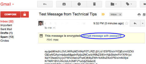 encrypted message recieved