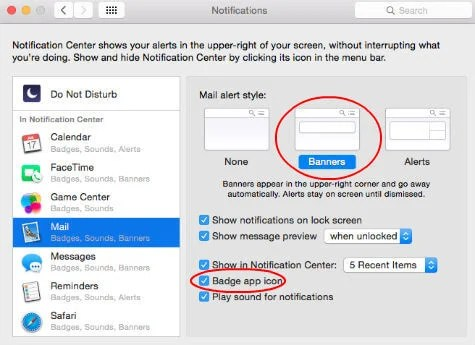 apple mail notification settings
