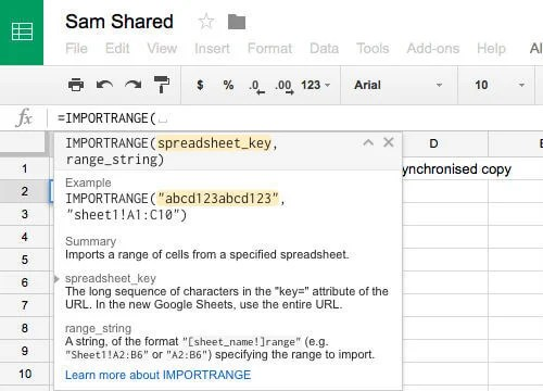 google sheet import tab command