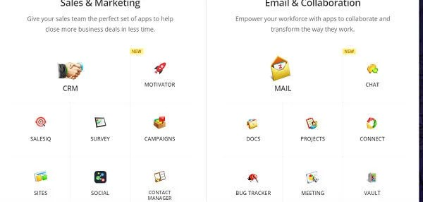 Zoho office online suite