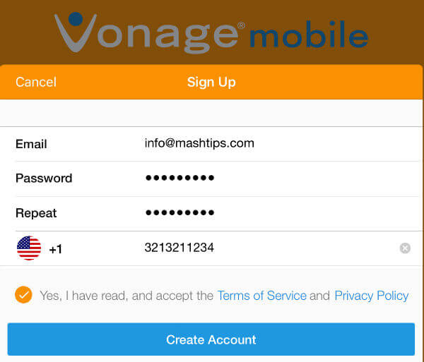vonage app register