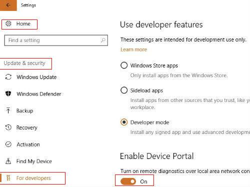 windows 10 device portal remote control